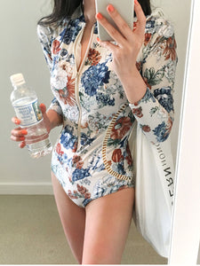 V-Neck  Zips  Printed One Piece