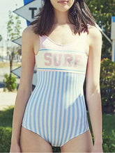 Scoop Neck  Backless  Letters Plain Striped One Piece