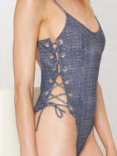 Spaghetti Strap  Lace-Up  Plain One Piece