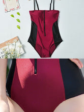 Spaghetti Strap  Zips  Color Block One Piece