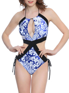 Tie Collar  Side Slit  Printed One Piece