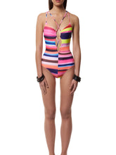 Tie Collar  Striped One Piece