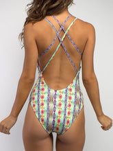 Halter  Lace-Up  Abstract Print One Piece