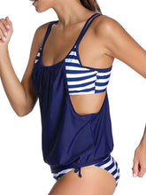 Spaghetti Strap  Color Block One Piece