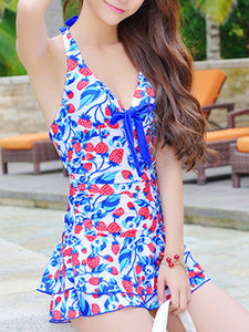 Halter  Bowknot  Printed One Piece