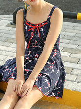 Collarless  Bowknot  Printed One Piece