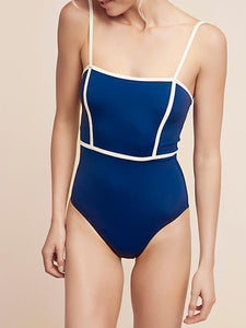 Spaghetti Strap  Contrast Trim  Plain One Piece