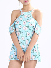 Crew Neck  Flounce  Printed One Piece
