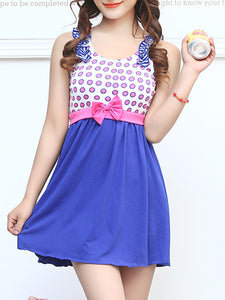 Round Neck  Bowknot Ruffle One Piece