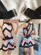 Crew Neck  Backless  Striped One Piece