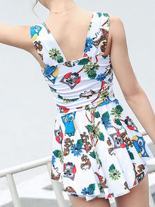 Scoop Neck  Backless  Printed One Piece