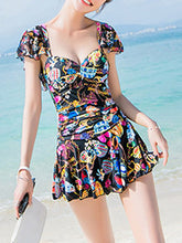 Square Neck  Flounce  Printed One Piece