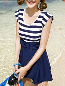 Round Neck  Bowknot  Striped One Piece