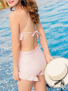 Halter  Flounce  Plain One Piece