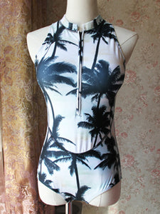 Band Collar  Zips  Printed One Piece