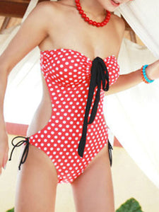 Halter  Backless  Polka Dot One Piece