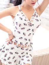 Deep V-Neck  Lace-Up  Printed One Piece