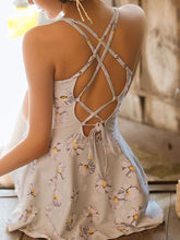 Spaghetti Strap  Lace-Up  Printed One Piece