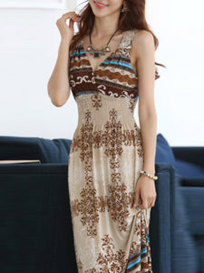V-Neck  Printed Maxi Dresses