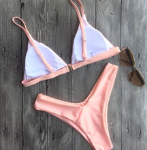 Deep V-Neck Solid Color Bikini Swimwear