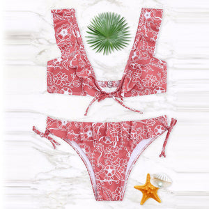 Lovely Pink Summer Ruffle Bikini Swimwear