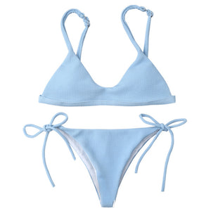 Pure Color Halter Bikini Set Swimwear