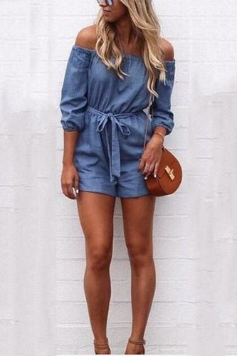 Cutaway Collar Slim Waist Denim Jumpsuit