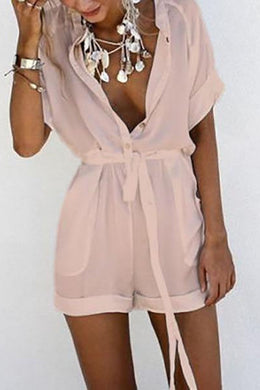 Casual V Collar Pure Color Jumpsuit
