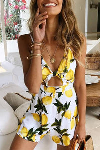 Sexy Strap V Collar Printed Sleeveless Short Jumpsuit
