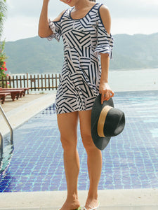 Round Neck  Striped One Piece