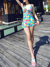 Deep V-Neck  Backless  Printed One Piece