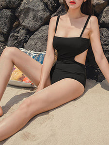 Spaghetti Strap  Backless  Hollow Out Plain One Piece