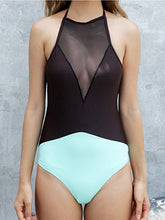 Round Neck  See-Through  Color Block Plain One Piece