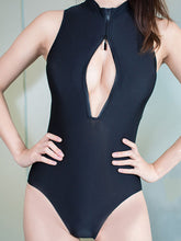 High Neck  Zips  Plain One Piece