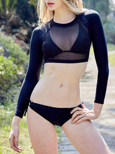 Round Neck  See-Through  Plain Bikini