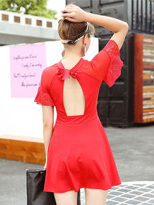 Round Neck  Backless  Plain One Piece