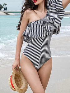 One Shoulder  Flounce  Striped One Piece