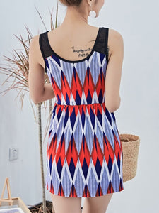 Round Neck  Printed One Piece