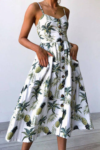 9665c7bdfd Spaghetti Strap Single Breasted Dot Floral Printed Sleeveless Maxi Dresses