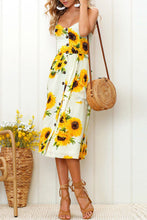 Spaghetti Strap  Single Breasted  Dot Floral Printed  Sleeveless Maxi Dresses