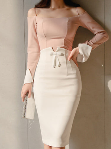 Open Shoulder  Patchwork  Plain  Roll-Up Sleeve Bodycon Dresses