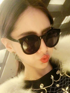 Plain Large Frame Thin Face Retro Sunglasses