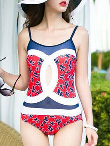 Spaghetti Strap  Patchwork  Color Block Letters One Piece