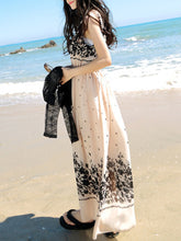 Round Neck Floral Printed Maxi Dress