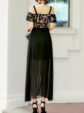 Spaghetti Strap  High Slit  Brocade Maxi Dress