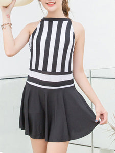 High Neck  Vertical Striped One Piece