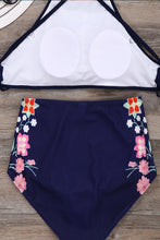 High Neck  Cross Straps  Floral Bikini