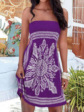 Strapless Smocked Bodice Tribal Printed Skater Dress