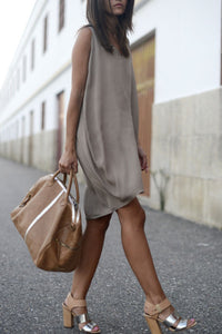 V Neck  Asymmetric Hem  Plain  Sleeveless Casual Dresses