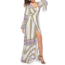 Ethnic Printed Sexy Split Maxi Vacation Dress